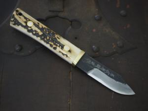 Small Knife 「Sawachi②」 190㎜ with stag・Double Bevel (The collaboration with the knife artiest and sharpener) Honjyoji1st