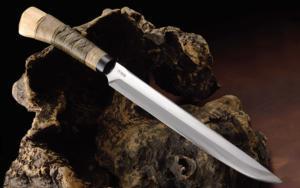 Hunting Knife Hosomi‐Keiryu‐Nata 「Shimamto」270mm・Double Bevel Yoshihiko Akitomo