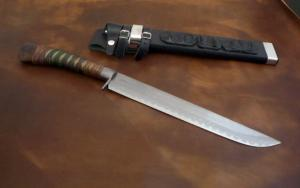 Hunting Knife Tamamoku Midaremontan Wani Matagitou 300mm・Double Bevel Yoshihiko Akitomo