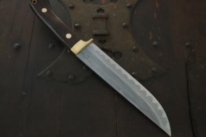 秋友 義彦 ダマスカス乱れ紋丹「古式狩猟刀」6寸5分・両刃 カスタムコラボ