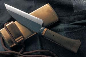 土居良明作 銅巻 「オヤジの小包丁」4寸・両刃